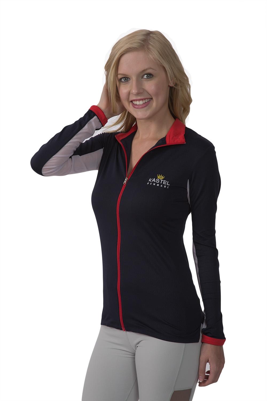 Billede af Kastel trøje med lynlås navy og rød