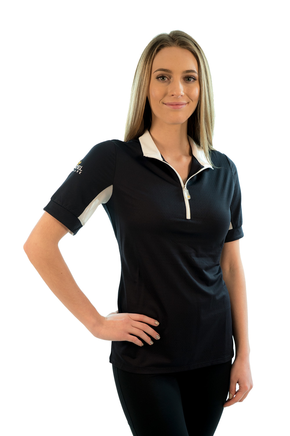 Image of   Charlotte Signature Short Sleeve Black with White Trim