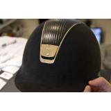 Samshield ridehjelm Premium læder top med guld ramme