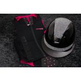 Samshield ridehjelm Miss Shield Glossy sort med crystal fabric top og bånd