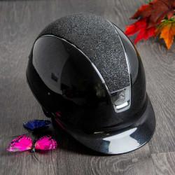 Samshield Glossy ridehjelm sort med crystal fabric top