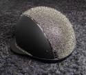 Samshield ridehjelm shadowmatt Miss Shield sort med crystal fabric medley gold top og bånd