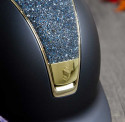 Samshield ridehjelm navy shadowmatt med guld ramme og front medley top front