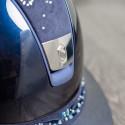 Samshield ridehjelm Miss Shield Glossy Navy speciel kant med flower Jewerly top og bånd front