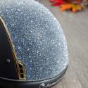 Samshield ridehjelm navy shadowmatt med guld ramme og front medley top bagside